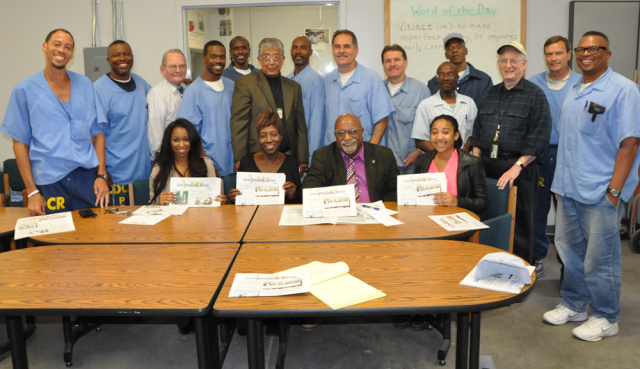 San Quentin News staff, advisors, Cal Berkeley journalist students with Oakland Post News Group Publisher Paul Cobb in San Quentin State Prison, 2014